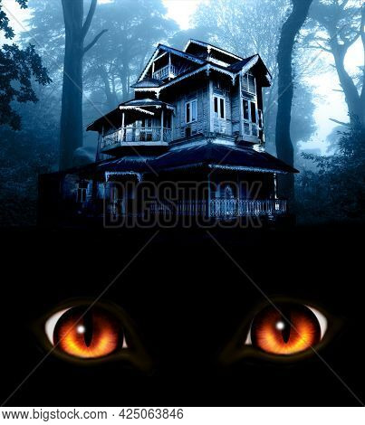 Haunted house in night forest. Old abandoned house and burning red monster eyes and mysterious landscape of foggy forest. Scary cottage in mysterious forestland. Photo toned in blue color. 3d render