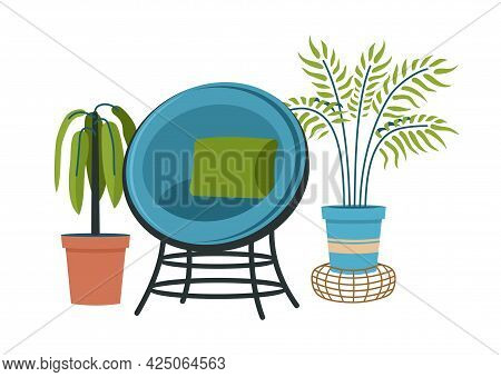 Vintage Semicircular Armchair With Indoor Plants. Twisted Chair With Green Cushion And Blue Upholste