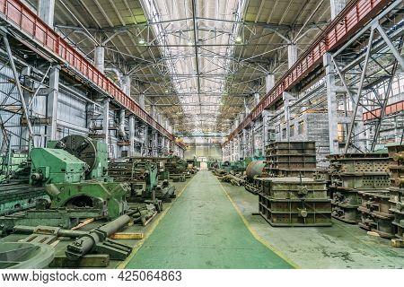 Metalworking Machine Tools In Large Workshop. Heavy Industry. Metallurgical Plant. Industrial Interi