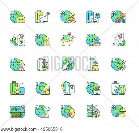 Types Of Travel Rgb Color Icons Set. No Destination Trip. Business And Recreation Journey. Isolated