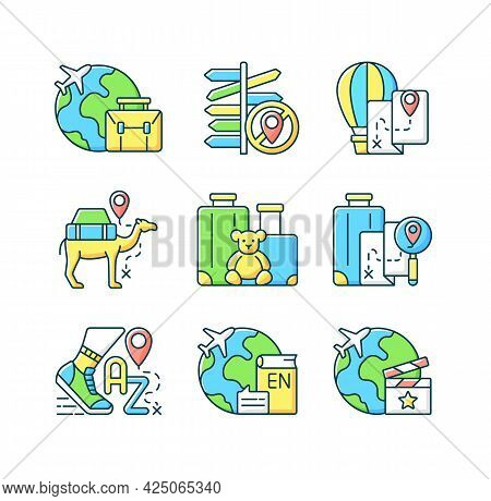 Travel Type Rgb Color Icons Set. Family Trip. Business Meeting Abroad On Plane Flight. Isolated Vect