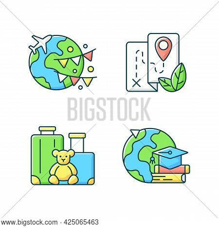Vacation Rgb Color Icons Set. Vacation Abroad. Eco Tourism. Family Trip. Student Exchange. Isolated