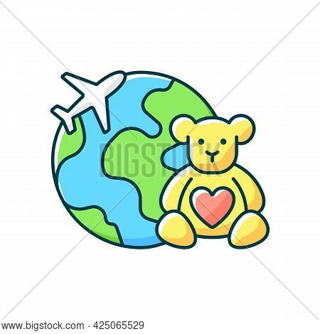 Orphanage Tourism Rgb Color Icon. Volunteer Fly Abroad For Children Charity Support. Visit Foreign C