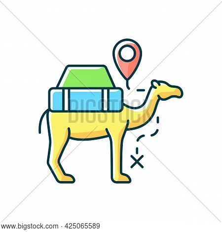 Camel Caravan Rgb Color Icon. Travel In Egypt. Mammal For Safari Transportation. Explore Desert And