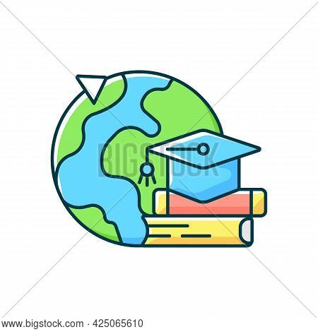 Student Exchange Programme Rgb Color Icon. Flight Abroad For University Education. International Tri