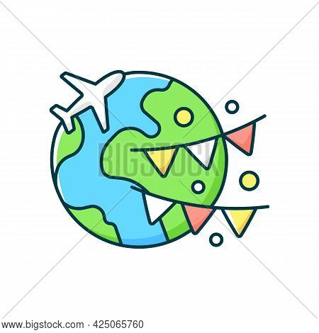 Event Travel Rgb Color Icon. International Holiday Trip. Recreational Getaway To Foreign Country. Is