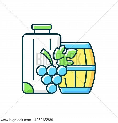 Industrial Tourism Rgb Color Icon. Journey Abroad For Wine Tasting. Journey For Gastronomy And Vinit