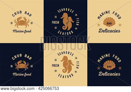Seafood For Logo. Marine Delicacy And Fresh Fish