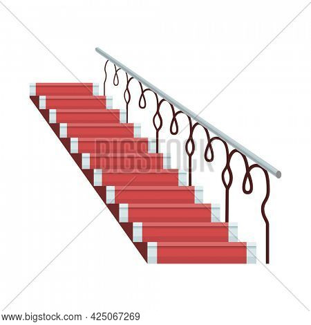 Staircase luxurious wooden covered red carpet with metal handrails. Isolated cartoon flat icon of stairs. Element for hotel lobby