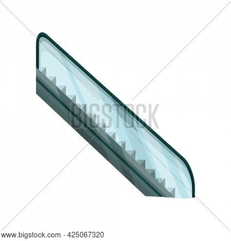 Modern elevator stairs escalator. Electric staircases or moving stair. Isolated cartoon flat icon. Element for hotel lobby or shopping center