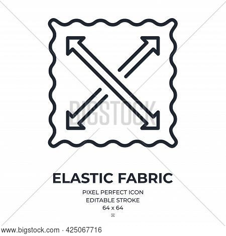 Elastic Fabric Feature Tag Editable Stroke Outline Icon Isolated On White Background Flat Vector Ill