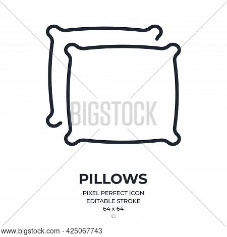 Pillows Editable Stroke Outline Icon Isolated On White Background Flat Vector Illustration. Pixel Pe