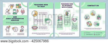 Asd Early Intervention Services Brochure Template. Teaching To Talk. Flyer, Booklet, Leaflet Print,
