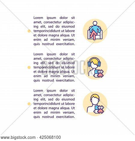 Diagnosing Asd In Adolescents And Adults Concept Line Icons With Text. Ppt Page Vector Template With