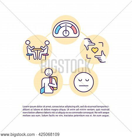 High Functioning Autism Concept Line Icons With Text. Ppt Page Vector Template With Copy Space. Broc