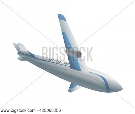 Flying airplane or airliner. Aircraft transport. Passenger flight jet airplane, aviation vehicle. Civil aircraft journey and aviation symbol. Wing flight transport