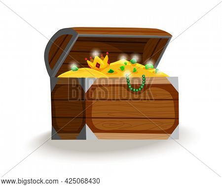 Treasure chest isometric cartoon. Wooden open box full of gold coins, jewels and royal crown. Precious treasures, crystals, gems and golden coins in pirate chest. Illusration for game user interface