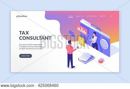 Online Financial Consultation. Businessman Communicates With Web Tax Specialist. Provision Consultin