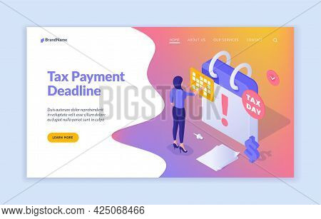 Deadline Tax Payments. Accountant Calculates Latest Financial Statements. Urgent Temporary Strings F