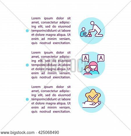 Behavior And Communication Approaches Concept Line Icons With Text. Ppt Page Vector Template With Co