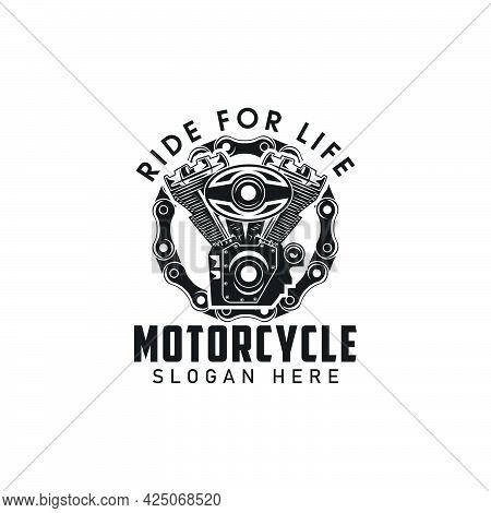 Vintage Engine And Chain Logo Design,motorcycle Logo,monochrome Logo,vector,symbol,ride,custom Templ