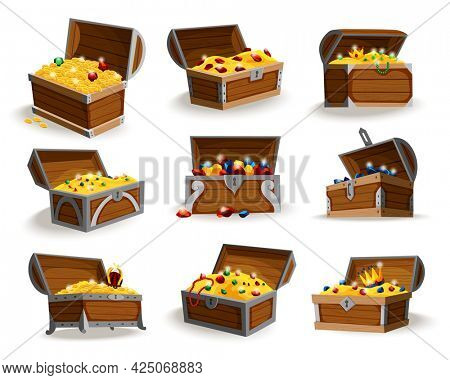 Treasure chests isometric cartoon set. Collection of wooden open boxes full of gold coins and jewels and royal crown. Precious treasures set, crystals, gems and golden coins in pirate chests