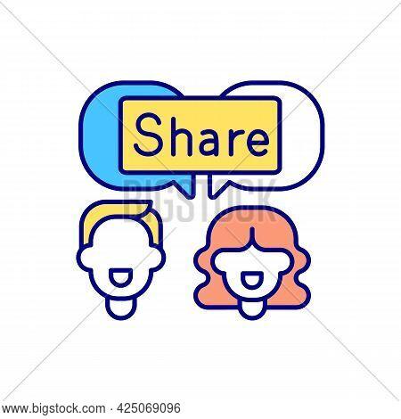 Sharing Post On Social Media Rgb Color Icon. Social Sharing. Isolated Vector Illustration. Trending