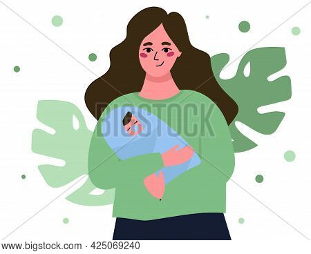 Happy Mom Holds A Baby In Her Arms. Vector Flat Illustration On The Topic Of Motherhood And Child Ca
