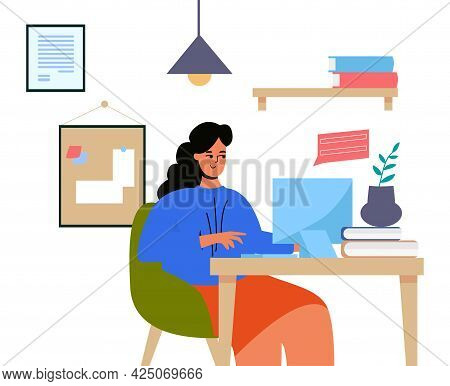 A Woman Is Sitting At A Desk With A Computer. The Woman Is Working. My Profession Is Teacher, Progra