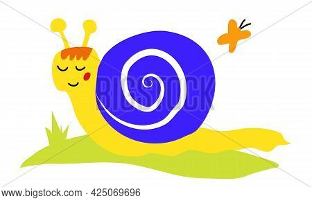 Cute Snail Crawling On The Grass. Snail In Summer, Flying Butterfly
