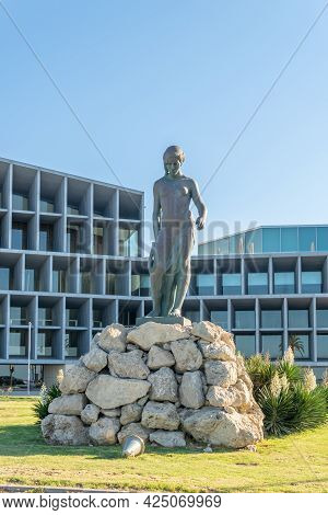 Palma De Mallorca, Spain; June 25 2021: Bronze Public Sculpture Entitled Nurebduna, Located On The P