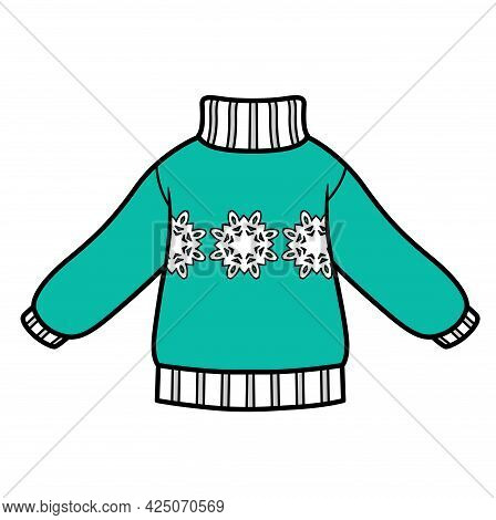 Knitted Sweater With Snowflake Pattern For Boy Color Variation For Coloring On A White Background