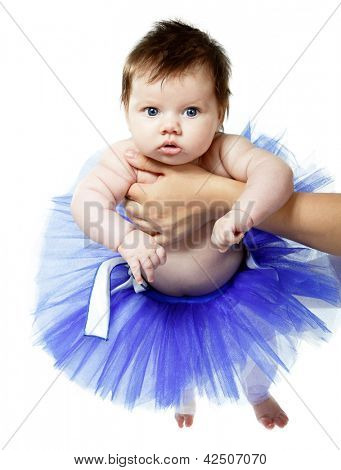 cute baby girl like a ballet dancer in blue tutu, isolated on white background