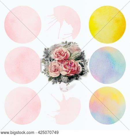 Bright Watercolor Painting Bouquet Of Roses Pink Brush Ink, Splash Stroke Stain Circle. Abstract Art