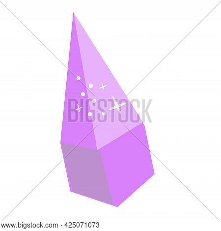 Violet Magic Crystal. Vector Clip Art Of Precious Gemstone Diamond