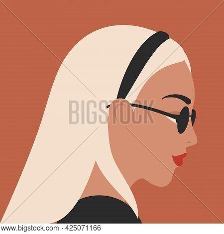 Woman Portrait In Minimal Style. Female Face Profile. Blonde Girl In Fashion Sunglasses Vector Illus