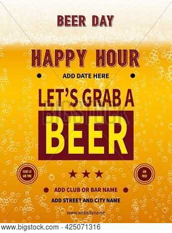Beer Day Happy Hour Poster Flyer Social Media Post Template Design