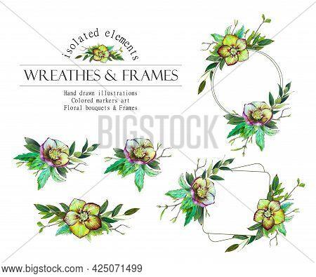 Green Floral Round Frame. Helleborus Wreath, Bouquets