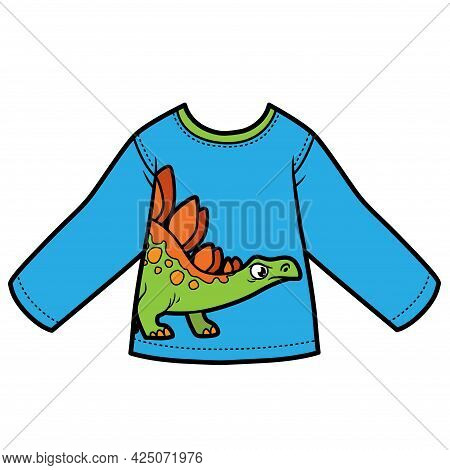 Long Sleeve T-shirt With Cartoon Stegosaurus For Boy Color Variation For Coloring On A White Backgro