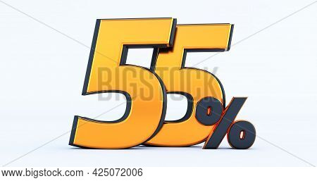 3d Render Of Discount Fifty Five 55 Percent Off Isolated On White Background