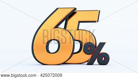 3d Render Of Discount Sixty Five 65 Percent Off Isolated On White Background