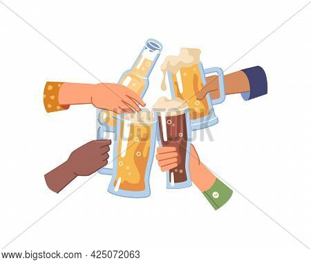 Cheers And Celebration, Isolated Hands Holding Glasses And Bottle Of Beer, Light And Dark Or Pale Al