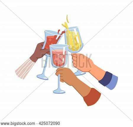 Cheers And Celebration, Festivity And Congratulation. Isolated Hands Holding Glasses Of White And Re