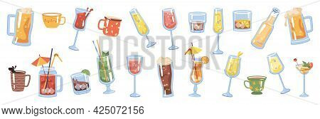 Glasses And Cups With Drinks And Beverages, Isolated Coffee And Tea. Champagne And Sparkling Wine, B