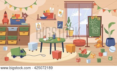 Furniture And Toys In Kindergarten Classroom, Interior Design Of Contemporary Room For Kids. Chalkbo