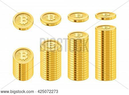 Stack Of Bitcoin Cryptocurrency, Isolated Pile Of Golden Coins Used For Payment And Investment. Grow