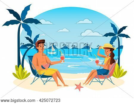 Summer Vacation Isolated Scene. Couple Drinking Cocktails, Eating Watermelon And Sunbathing At Loung