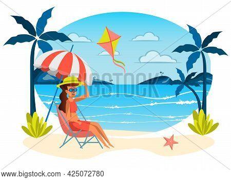 Summer Vacation Isolated Scene. Woman Sunbathing At Lounger Under Umbrella, Flying Kite On Beach. Yo