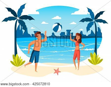 Summer Vacation Isolated Scene. Couple Playing Ball On Beach. Woman And Man Doing Sport Activities,