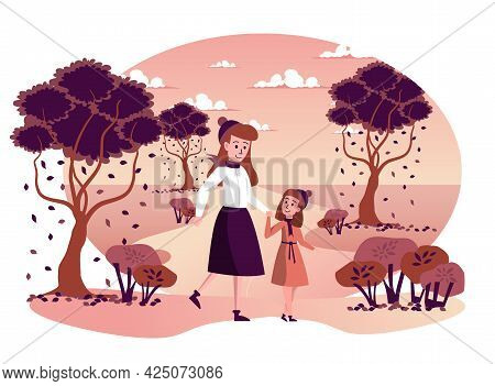 Mother And Daughter Walking Together In Autumn Park Isolated Scene. Family Spending Time Together Ou